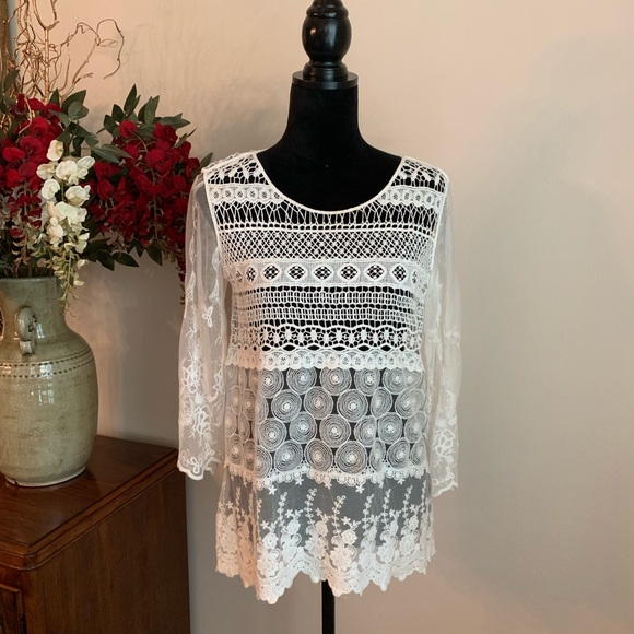 Chico's Tops - CHICO'S Crochet/Lace Top